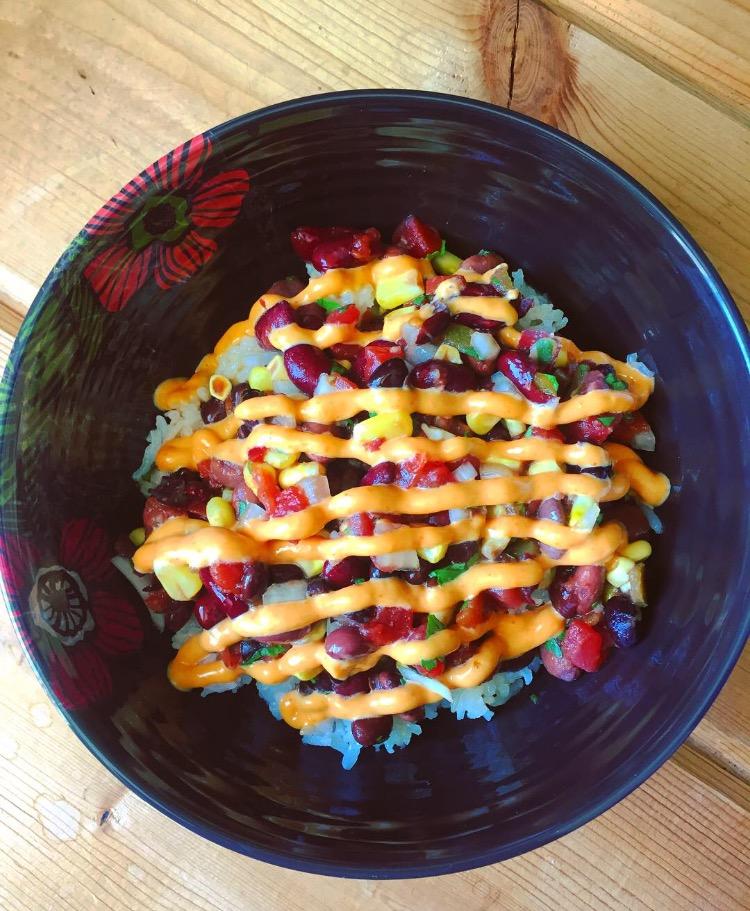 Bean salad on rice